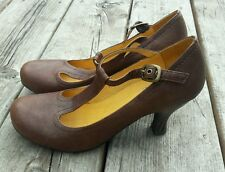 Crown Vintage Brown Leather T Strap Heels Womens Shoe Size 6 Buckle Mary Jane