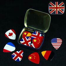 6Pcs 0.46mm National Flag Guitar Picks With Pick Box