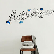 Blue Butterfly Flower wall decals Art PVC Quote home decor wall sticker