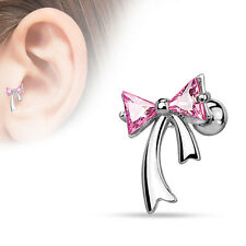 16G Bow cartilage barbell triangle CZ Ribbon tragus helix piercing rose gold