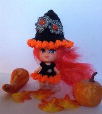 "Handmade Crochet halloween witch clothes fit vntg Mattel 2"" LIDDLE KIDDLE doll"