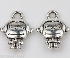 New 10Pcs Monkey Tibet Silver Crafts Charms Pendant Jewelry Findings 15x11MM DIY