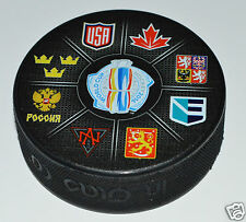 2016 World Cup of Hockey SOUVENIR LOGO PUCK All 8 Teams CANADA USA RUSSIA SWEDEN