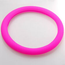 Pink Auto Car Texture Leather Soft Silicone Steering Wheel Cover Shell Trim Ring