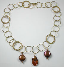 Gold Filled Fancy Circle Necklace with Coin Pearls and Swarovski Crystal