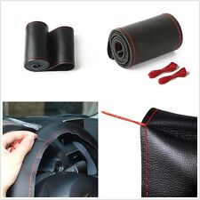 Auto SUV 38cm Leather Steering Wheel Cover Sweat Hand Sewn DIY Needle & Red Cord