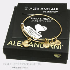 Authentic Alex and Ani Cupid's Heart Rafaelian Gold Charm Bangle