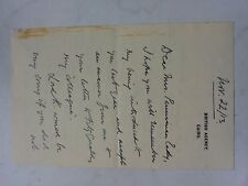 Autograph signed Lord Collins Stuart Egypt Cairo World War One