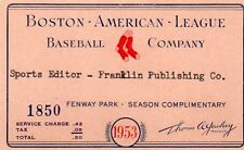 1953 Pass Ticket Boston Red Sox Ted Williams Returns FR Korean War PH Aug/13 HR