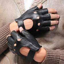 Men's Leather Gloves Half Finger Fingerless Stage Sports Cycling Driving New