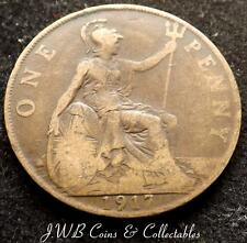 1917 George V One Penny 1d Coin - Great Britain.
