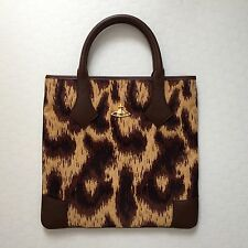 Very Rare Vivienne Westwood 'Africa' Print Leather & Leopard Tapestry Tote Bag