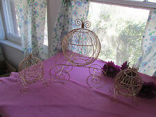 Set of 3 Gold Cinderella Carriages (Use for Wedding or Baby Shower Centerpiece)