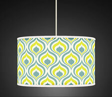 30cm Yellow Sage Green Geometric Handmade Gicleel  fabric lampshade 449