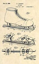 Official Ice Skate Patent Art Print- Vintage Ice Hockey Skates -1939 Antique 332
