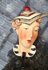Royal Dux CECOSLOVACCHIA maschera di Muro Art deco Lady 1930s MOLTO RARA