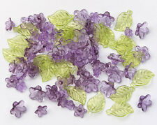 Acrylic Purple Flowers with Green Leaf Beads - 192 pieces Jewelry craft fnt