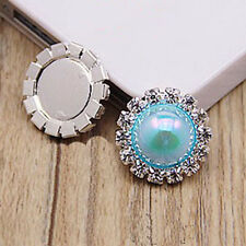 10pcs 15mm Shiny Rhinestone Pearl Cluster Wedding Rhinestone Button DIY Buckle W
