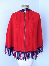 Vtg 60s 70s Red Wool Cable Knit Zip Up Sweater Poncho Cape RWB Fringe M