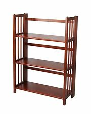 "Casual Home 3 Tier Folding Stackable Bookcase 27.5"" Wide Mahogany 330-29 New"