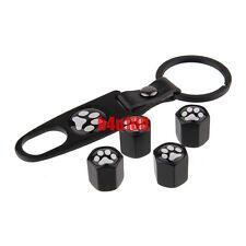4 pcs Logo Car Tyre Tire Valve Stem Caps keychain Bear Animal Foot Print Paw bZ4