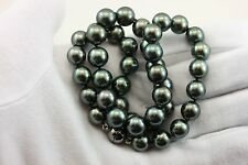 """Tahitian Black cultured pearls 10-11mm round 19"""" necklace 925 sterling silver"""