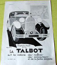 TALBOT / PACIFIC  / GEO HAM / 1931  /  AUTOMOBILE  PUBLICITE ANCIENNE