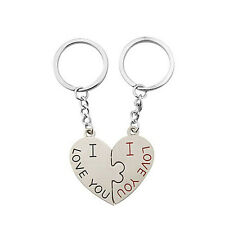 Hot I Love You Design Couples Keyring Set Pair Couple Key Chain Heart Pendant