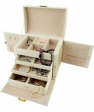 Large Three Drawer Cream Jewellery Box RRP 34.99 lot GD 2606433