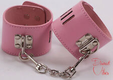 SEXY PINK LEATHER HANDCUFFS HAND CUFFS Female Costume Dress Up Party