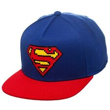 AWESOME DC COMICS SUPERMAN 8-BIT SYMBOL BLUE AND RED SNAPBACK CAP HAT *BRAND NEW