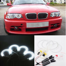 4PCS 131MM 146MM White CCFL Angel Eye Halo Ring Light For BMW E46 3 Series 6000K