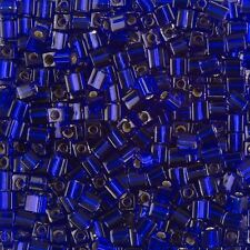 Miyuki Silver Lined Cobalt 4mm Square (Cube) Glass Seed Beads 20g Tube (B86/11)