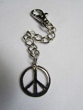 New Men Women Silver Metal Round Key Chain Ring Long Peace Sign Jeans Bag Charm