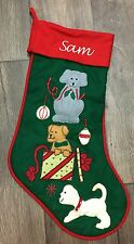 Dog Holiday Christmas Stocking Personalized SAM Perfect For Pet Or Pet Lover