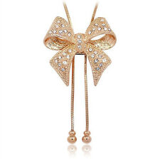 18K Gold Plated Swarovski Crystal Bow Pendant Sweater Link Chain Necklace K02