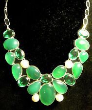 Large Bib Necklace Silver Plate Green Onyx Emerald Quartz Pearls 22 gems 19.5""