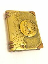 Fantastic Antique Large WW1 Trench Art Named Lovers Book Lighter ft. Medallions