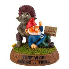 "Turf War - Gnome Vs Troll Garden Statue 9"" New for 2016 novelty funny rude"