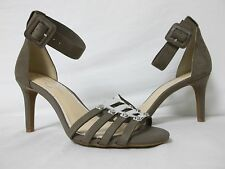 Jessica Simpson 8.5 M Masullo Grey Leather Open Toe Heels New Womens Shoes NWOB