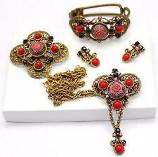 Juliana Book Piece Red Moroccan Matrix Necklace Brooch Earrings Clamper Bracelet