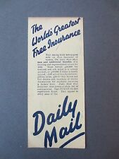 Vintage BOOKMARK DAILY MAIL Newspaper Advertising Free Insurance 1932 Promotion