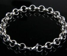 "Stainless Steel Charms Bracelet Ring Chain 8.2"" Link Fashion Jewelry Wholesale"