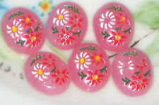 #982 Vintage Cabochons Pressed Glass Pink Floral Cabs Flowers10x8mm Intaglios
