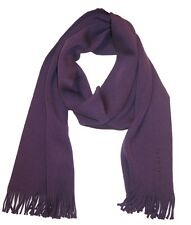 HUGO BOSS Men's GR-Albas Purple 100% Wool Fringe Edge Logo Scarf