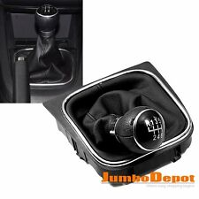BLK Leather Gear Shift Knob Gaitor Boot 6 Speed For VW GOLF JETTA MK5 MK6 05-14