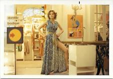 Vintage Old 1970's Photo Woman Model Dress Showing Leg Like Angelina Jolie Pose
