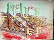 Acquerello '900 su carta Watercolor Architettura futurista cubista razionale-125