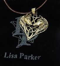 Wolf Heart bronze pendant necklace by Lisa Parker on cord Licensed gift bag