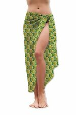 LIMA Todo Verde Diseño Medio Largo Chifón Sarong Traje de baño Beach Envoltura